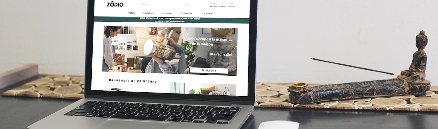 écran d'ordinateur affichant le site web Zodio