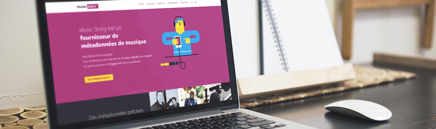 ordinateur avec le site music story à l'écran
