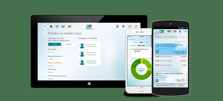 téléphones et tablette avec application à l'écran